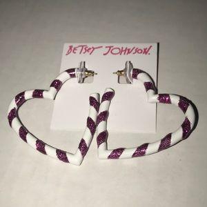 Betsey Johnson Candy-cane Glitter Heart Earrings
